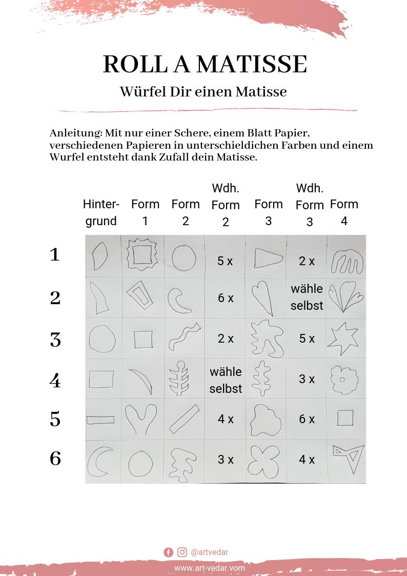 Würfelspiel um einen Matisse zu erstellen